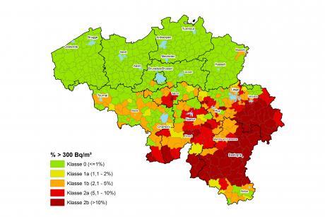 Kaart radon per gemeente